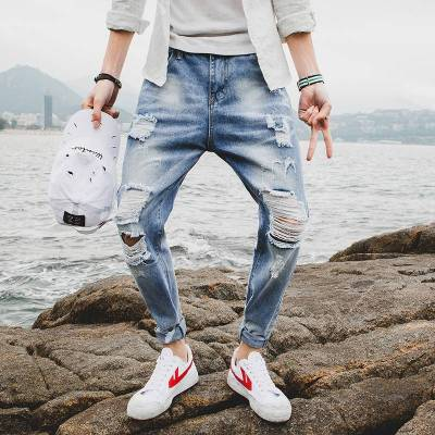 2019新款春季裤子男士牛仔裤男直筒韩版个性潮牌休闲修身潮流百搭
