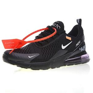 "Off white x Nike Air Max 270系列后跟半掌气垫慢跑鞋 ""OW白橘"""