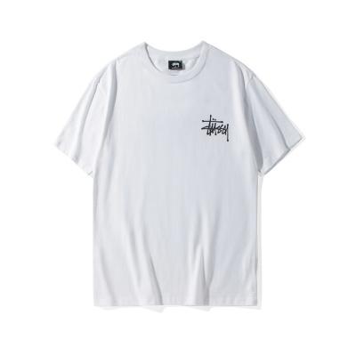 欧美潮牌stussy短袖白色烫金男女明星同款情侣圆领宽松斯图西纯棉T恤巡游t