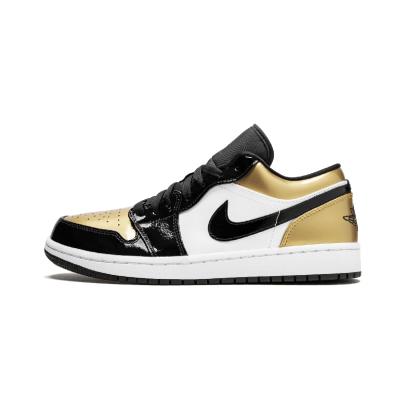 Air Jordan 1 Low AJ1 黑金脚趾 漆皮 低帮男篮球鞋 - CQ9447 700