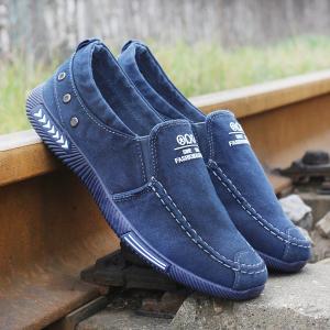夏季一脚蹬男鞋低帮休闲鞋大码软底布鞋透气防臭老北京布鞋韩版鞋