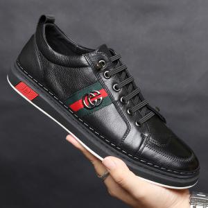 欧洲站男鞋春季新款板鞋社会男士英伦潮流休闲鞋子奢侈品真皮男鞋