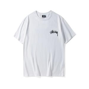 潮牌stussy短袖男女宽松嘻哈圆领黑武士情侣装纯棉印花斯图西t恤