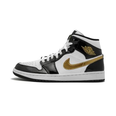 Air Jordan 1 Mid SE aj1 小黑金脚趾 中帮男篮球鞋 - 852542 007