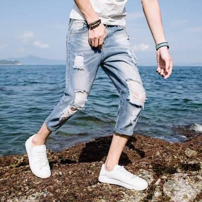 男士牛仔裤弹力新款修身小脚裤韩版潮流个性休闲牛仔裤子男春秋季