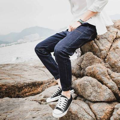 2019春季休闲牛仔裤男士修身小脚春秋款休闲直筒裤子潮牌韩版潮流
