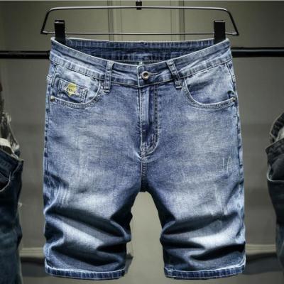 时尚靓仔五分牛仔短裤男日系宽松高弹力灰蓝色学生款五分马裤