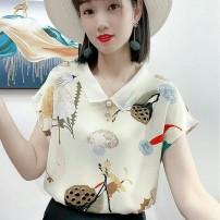 衬衫女装夏季新款时尚印花上衣气质娃娃领洋气雪纺衫宽松T恤