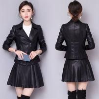 春秋新款女短款皮夹克薄款皮衣修身显瘦小西装黑色皮外套套装
