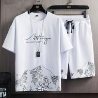 【两件套】夏季新款休闲套装男士短袖短裤套装青年T恤五分裤运动服