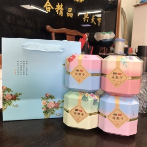8年云南普洱熟茶糯米香碎银子老茶头茶化石礼盒罐装,一斤4罐送礼