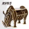 原木犀牛边几 茶几服装店橱窗摆件 样板房摆件动物造型家具包邮