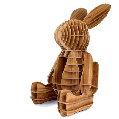 儿童动物兔子书架落地摆件置物架创意家居木大号客厅现代简约北欧
