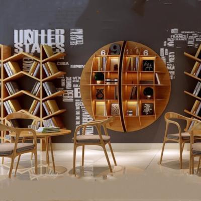 北欧现代简约实木圆形置物书架创意家居办公室样板间客厅装饰花架