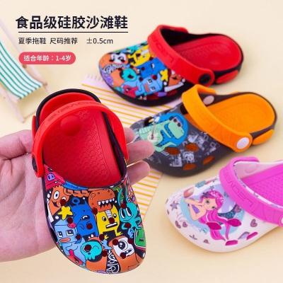 夏季儿童拖鞋宝宝卡通凉鞋男女童鞋硅胶鞋软底凉拖可爱沙滩洞洞鞋