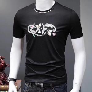 欧洲站男士短袖t恤重工刺绣双丝光棉个性时尚修身潮牌