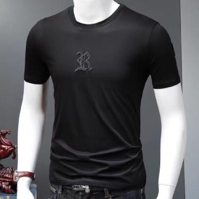 欧洲站男士短袖t恤重工刺绣冰丝光棉社会人时尚修身潮牌紧身上衣服