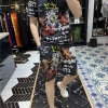 欧洲站男士短袖套装上衣 高端丝光棉潮牌衣服