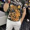 欧洲站高端男士短袖t恤印花潮人社会上衣大码潮牌