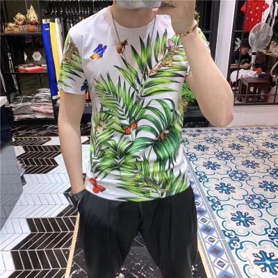 欧洲站2019夏季新款男士个性冰丝棉T恤潮牌胖子大码青年上衣服